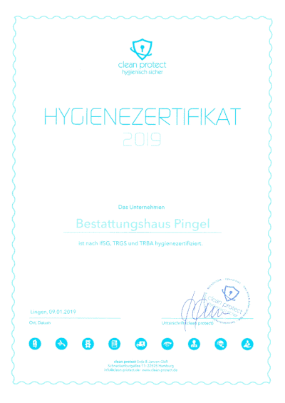 Hygienezertifikat 2019 Für Unser Bestattungshaus
