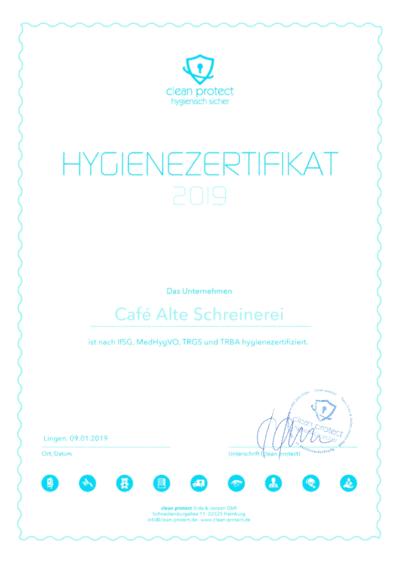 Hygienezertifikat 2019 Für Unser Trauercafé