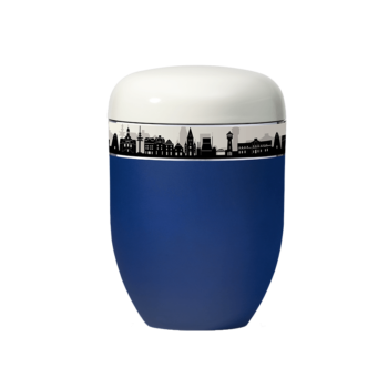 Urne Aus Naturstoff, Skyline, Blau