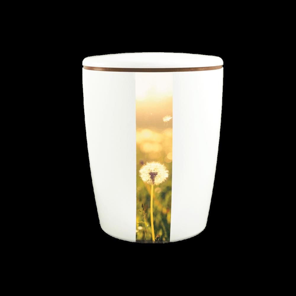 Urne aus Naturstoff, Solide-Line Vertical, Pusteblume, Weiß