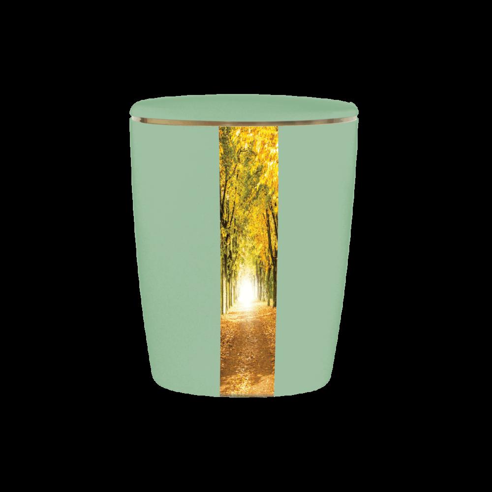 Urne aus Naturstoff, Solide-Line Creative Vertical, Waldweg, Maigrün