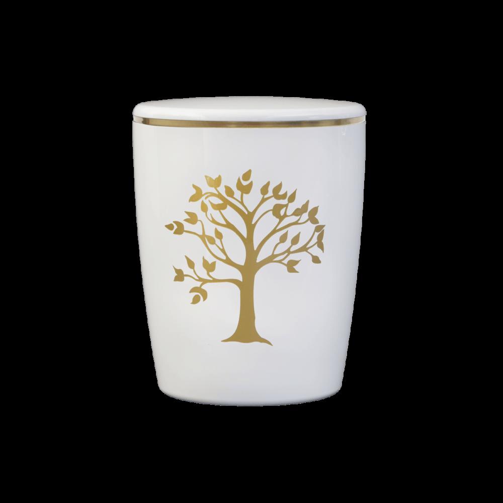 Urne aus Naturstoff, Solide-Line Motiv, Lebensbaum, Weiß