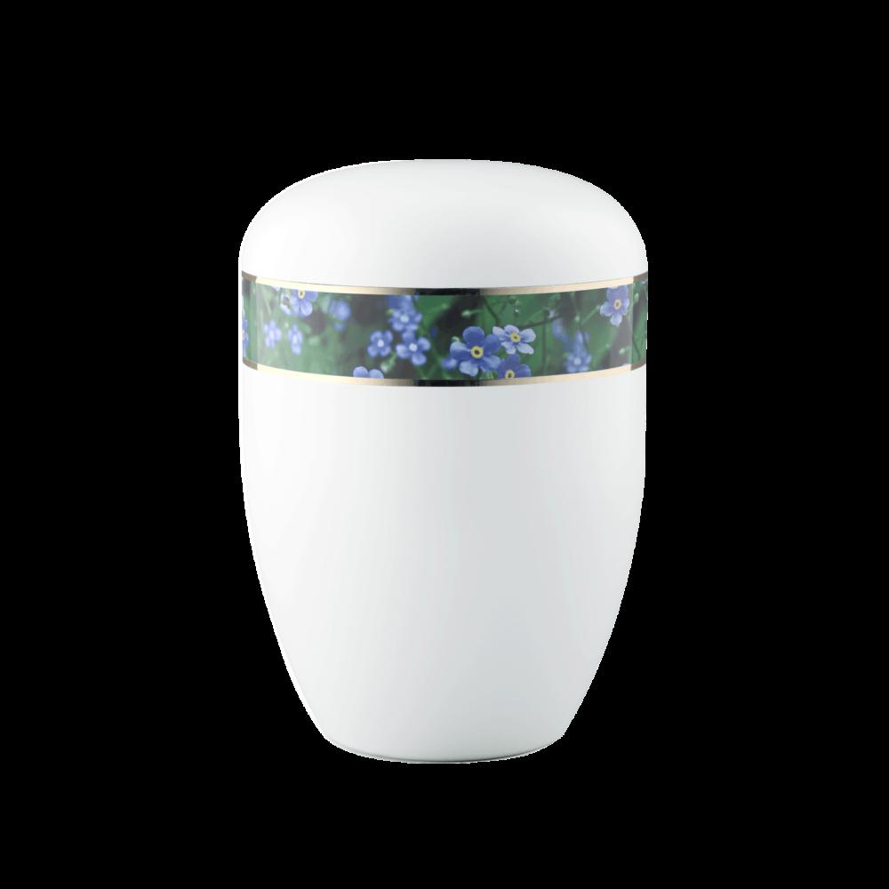 Urne aus Naturstoff, Edition 360°, Vergissmeinnicht, Weiß