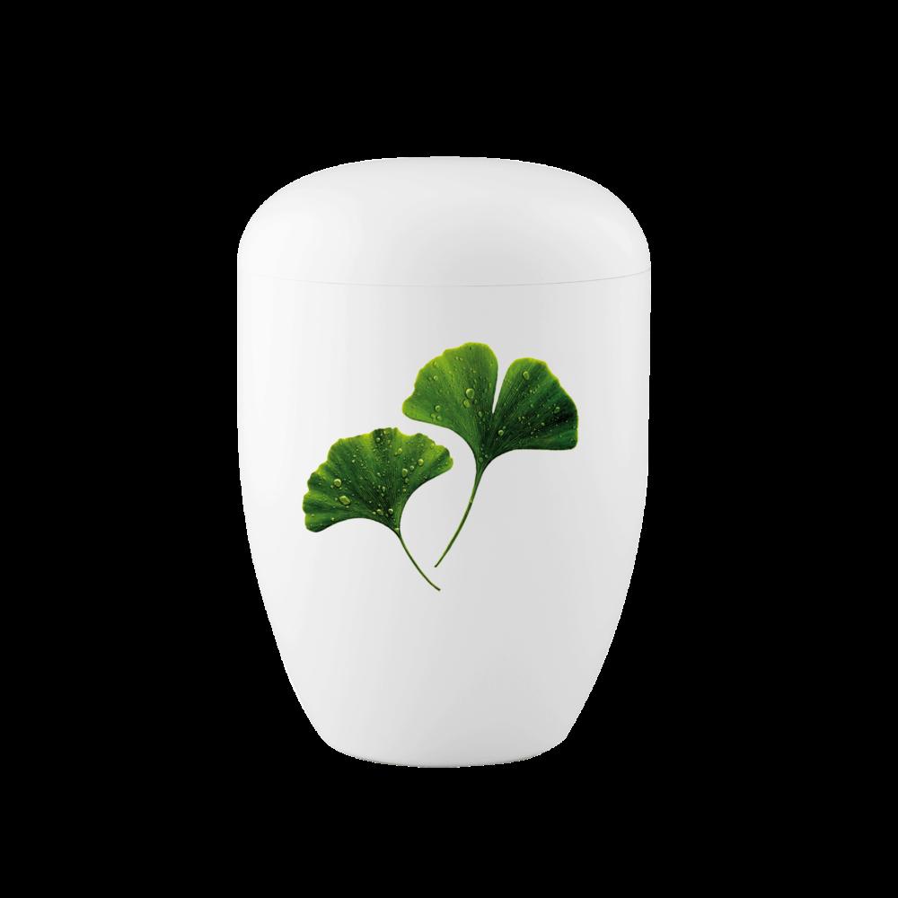 Urne aus Naturstoff, Edition 1, Ginkgo, Weiß