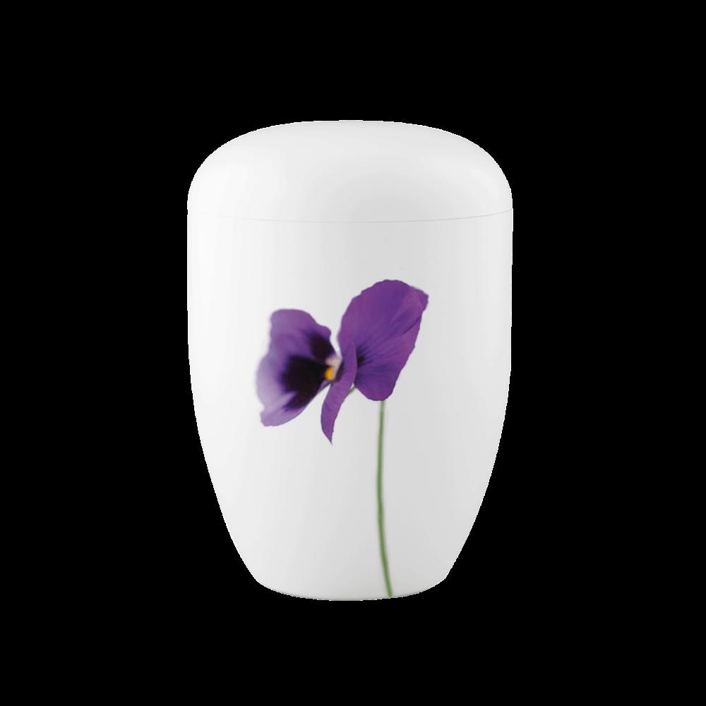 Urne aus Naturstoff, Edition 1, Stiefmütterchen, Weiß