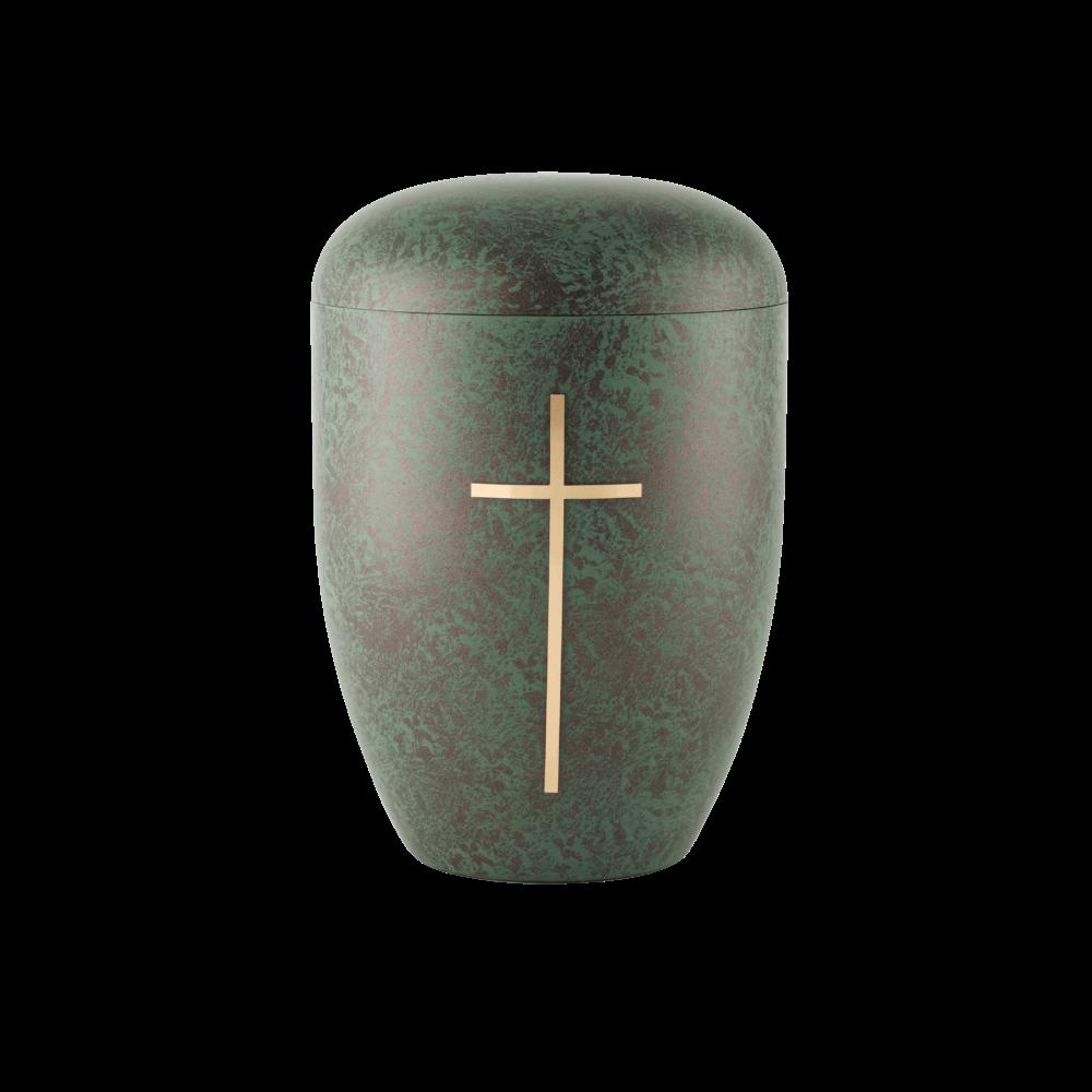 Urne aus Naturstoff, Edition Patina, Kreuz