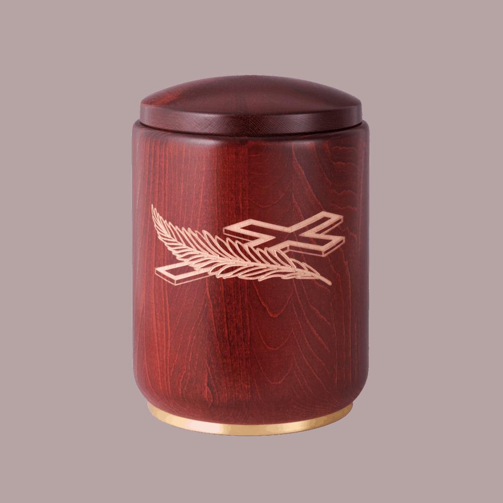 Urne aus Holz, Edition Roma, Buche, Mahagoni gebeizt, Palmzweig und Kreuz