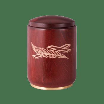Urne Aus Holz, Edition Roma, Palm Und Kreuz