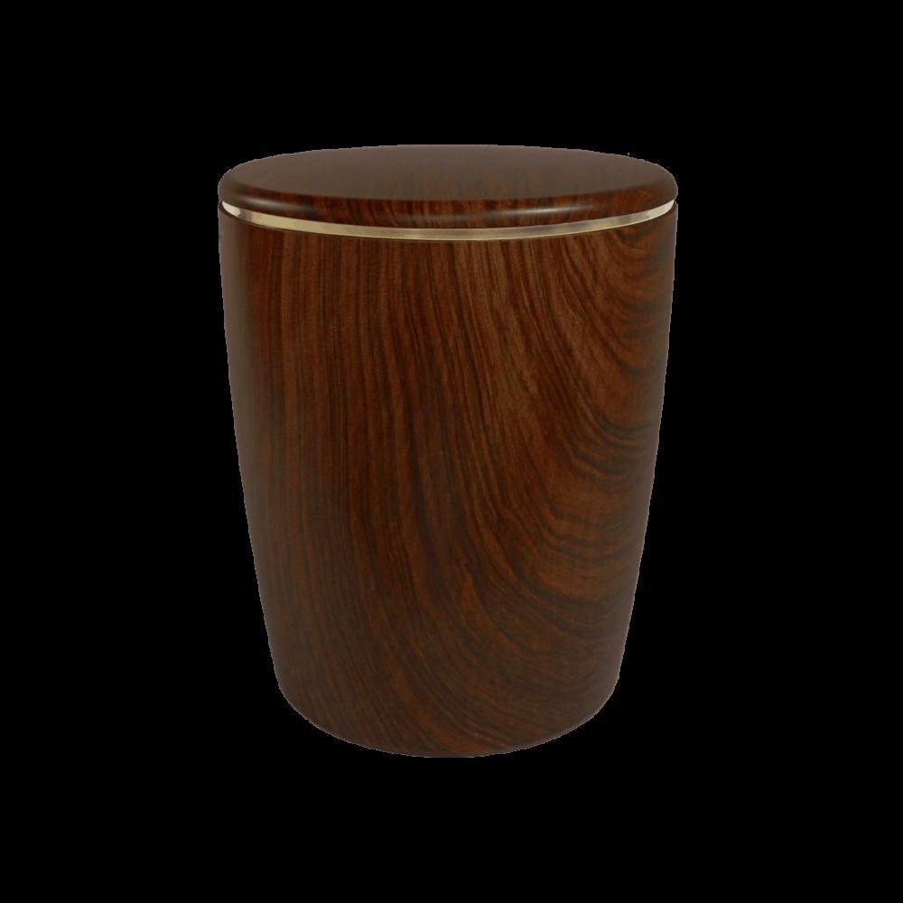 Urne aus Naturstoff, Solide Line Holzdekor, Nussbaum