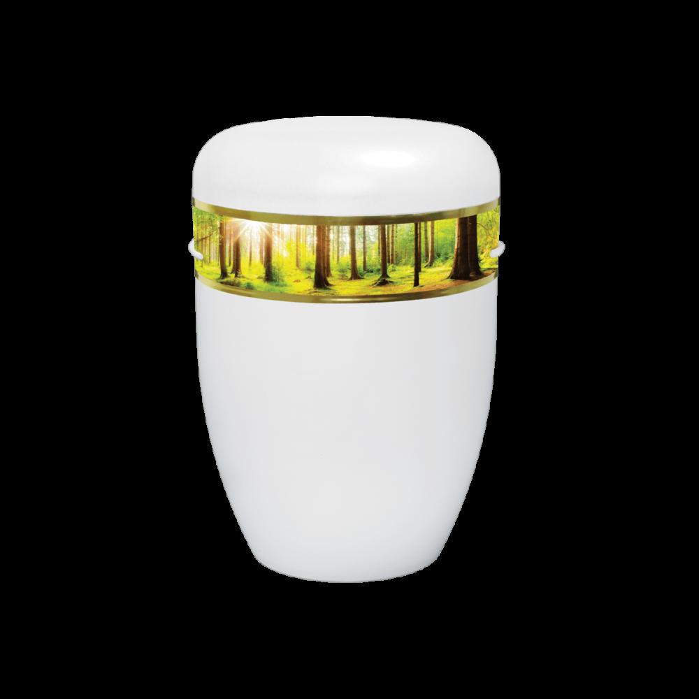 Urne aus Naturstoff, Creative Line Zierband, Waldweg