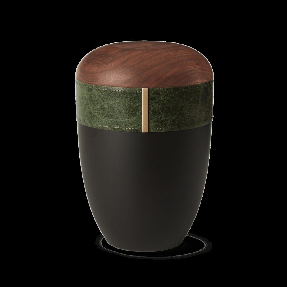 Urne aus Naturstoff, Woodline, Smaragd, Anthrazit