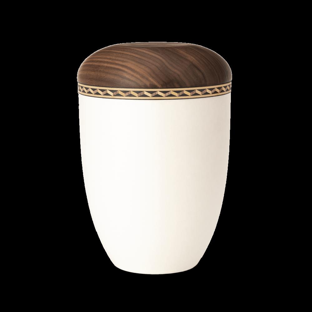 Urne aus Naturstoff, Intarsie 3, Cremeweiß