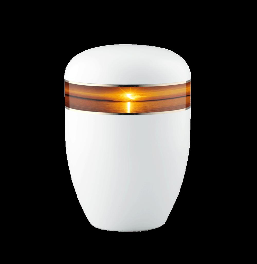 Urne aus Naturstoff, Edition 360°, Sonnenuntergang, Weiß
