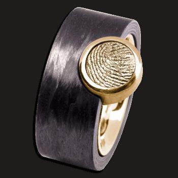 Ring Corona Carbon Und Gelbgold