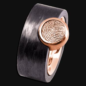 Ring Corona Carbon Und Roségold