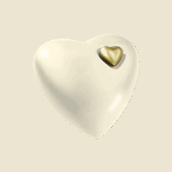 Urne Aus Keramik, Herz, Sandbeige-Gold