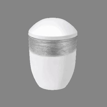 Urne Aus Keramik, Luxor Semi, Weiß-Silber