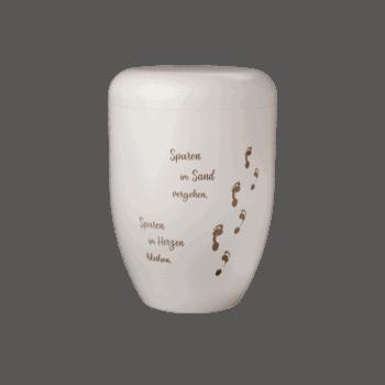 Urne Aus Naturstoff, Creative Line Gravuren, Creme