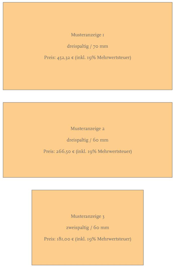 Musteranzeigen Gendenkanzeige